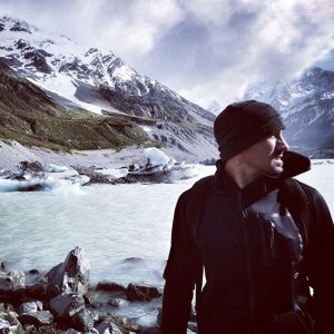 Lee Carseldine climbing mountains in New Zealand with Holden
