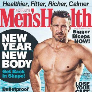 Lee Carseldine on the cover of Australian Men's Health Magazine